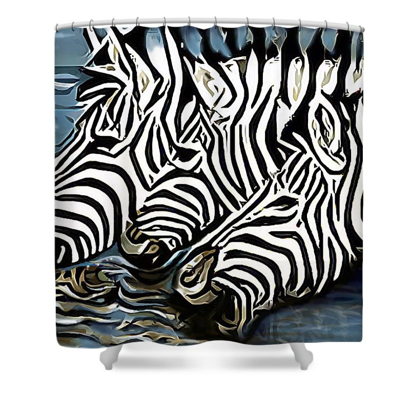 Zebra Shower Curtain featuring the painting Quenching That Thirst by James Mingo
