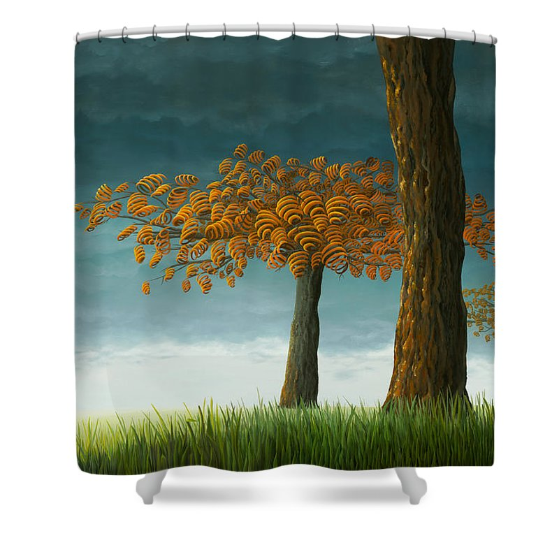 Tree Shower Curtain featuring the painting Quercus Corymbion by Patricia Van Lubeck