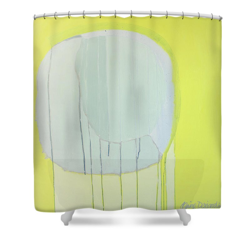 Abstract Shower Curtain featuring the painting Quien Esta? by Claire Desjardins