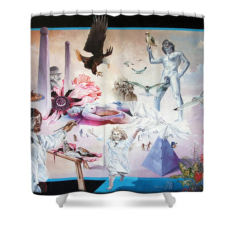 Surrealism Shower Curtain featuring the painting Quiet Afternoon At The Studio by Otto Rapp