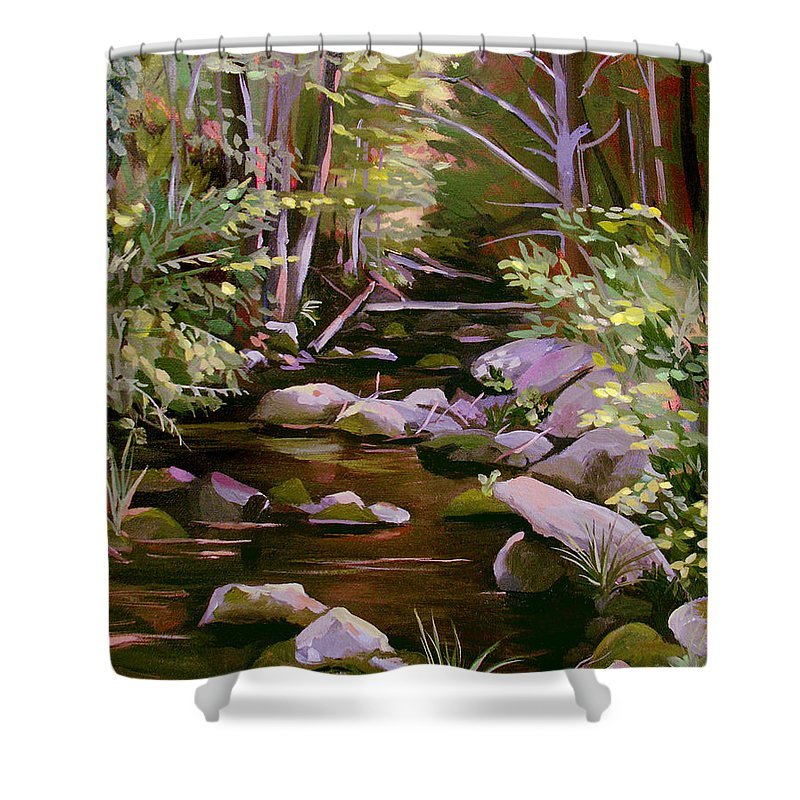 Peoples State Forest Shower Curtain featuring the painting Quiet Brook by Nancy Griswold