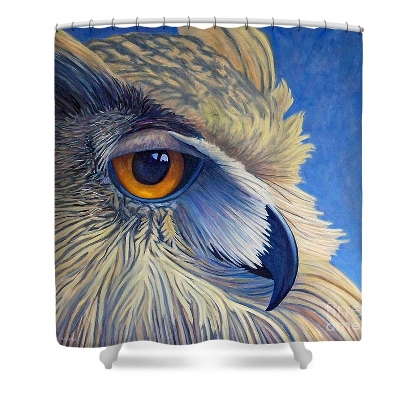 Owl Shower Curtain featuring the painting Quiet Joy by Brian Commerford