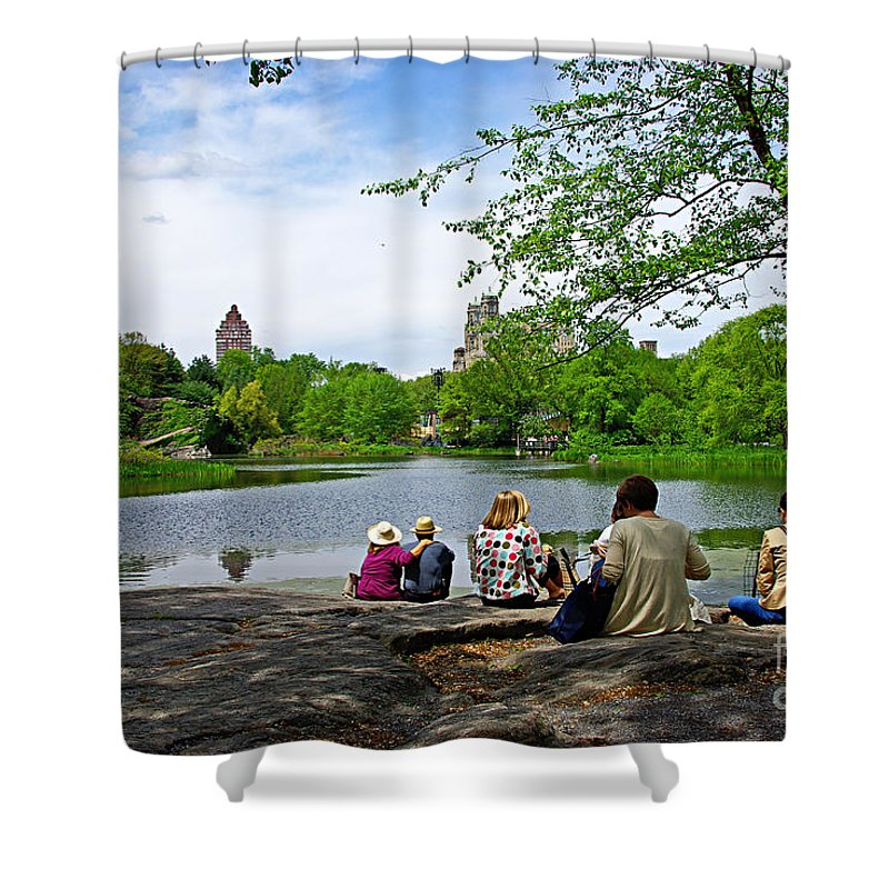 Central Park Shower Curtain featuring the photograph Quiet Moment in Central Park by Zal Latzkovich