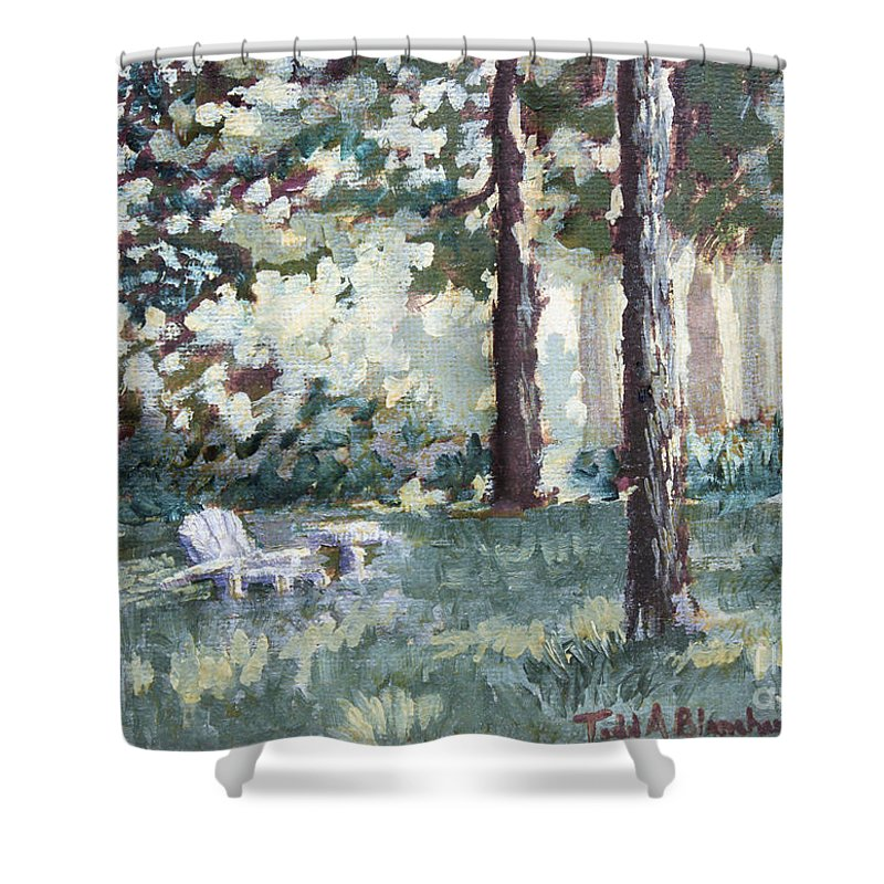 Landscape Shower Curtain featuring the painting Quiet Place by Todd Blanchard