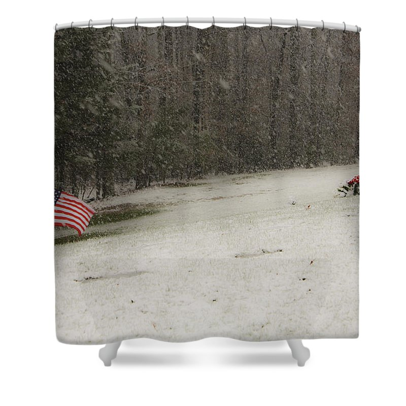 Cemetery Shower Curtain featuring the photograph Quiet Remembrance Quantico National Cemetery by Teresa Mucha