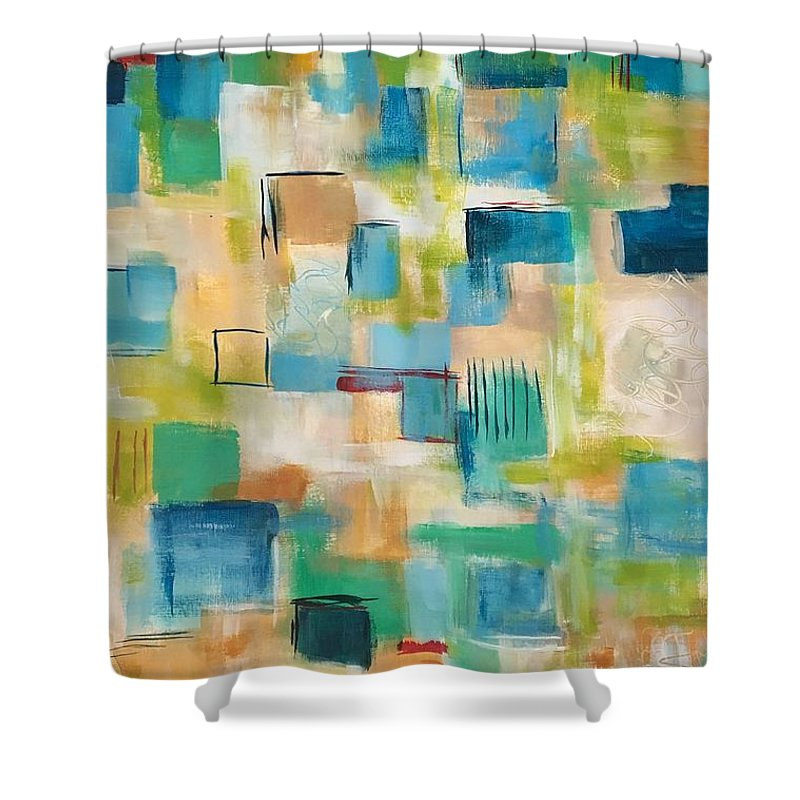 Abstract Painting Shower Curtain featuring the painting Quilted #2 by Suzzanna Frank