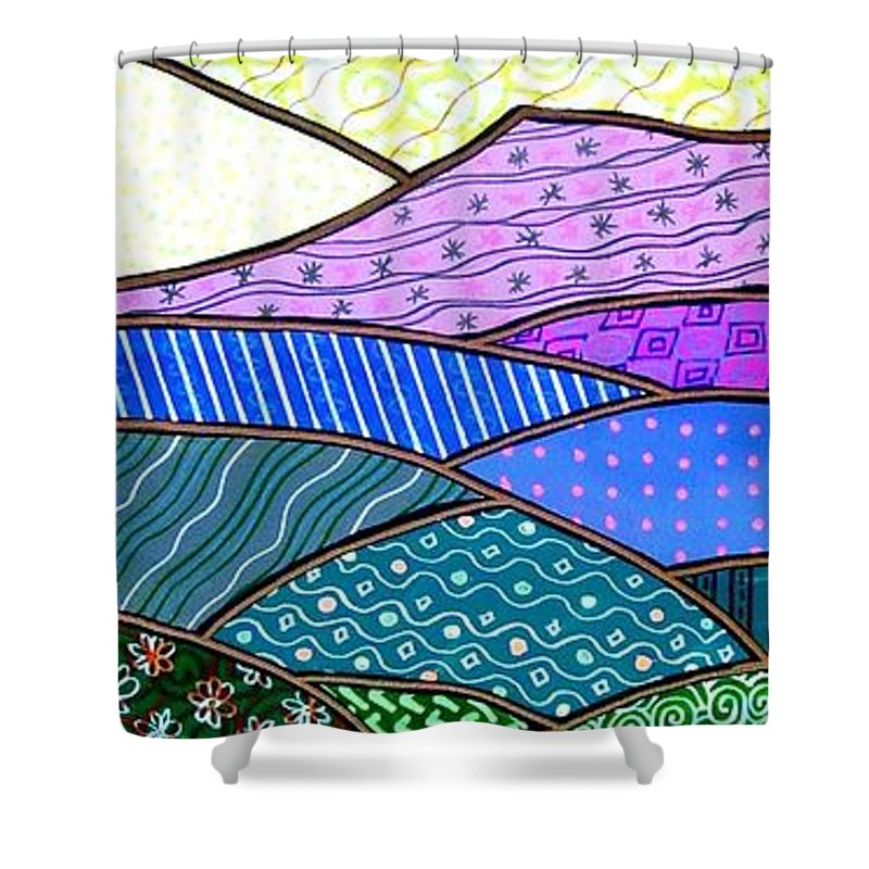 Mountain Shower Curtain featuring the painting Quilted Mountain by Jim Harris