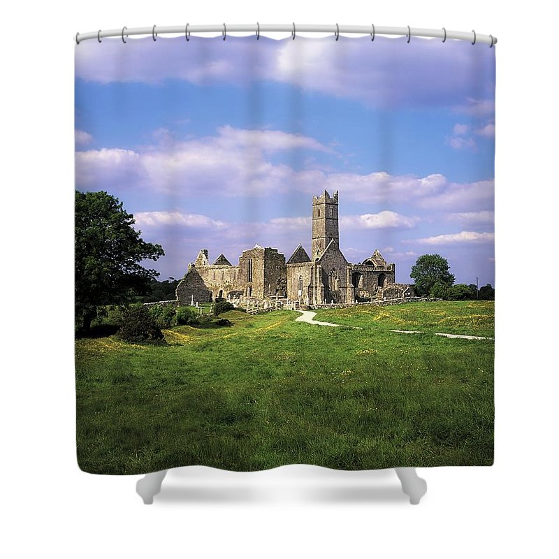 Cemetery Shower Curtain featuring the photograph Quin Abbey, Quin, Co Clare, Ireland by The Irish Image Collection