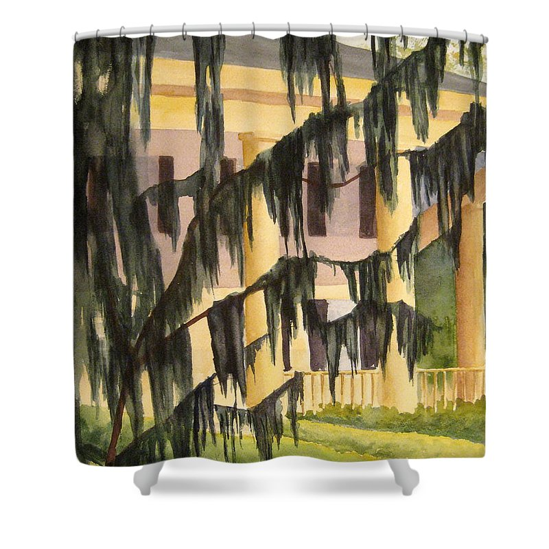 Buildings Shower Curtain featuring the painting Quinby Plantation by Julia RIETZ