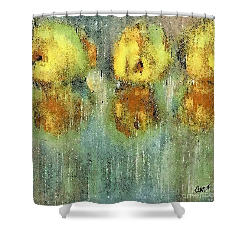 Fruits Shower Curtain featuring the pastel Quinces by Dragica Micki Fortuna