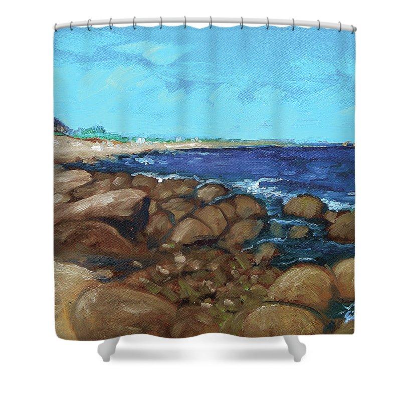Quonocontaug Shower Curtain featuring the painting Quonocontaug West Beach by Erik Schutzman