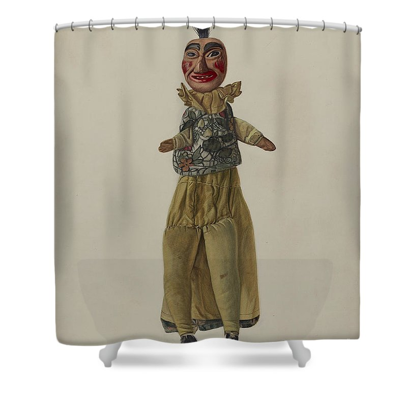 """Shower Curtain featuring the drawing """"punch"""" Clown Puppet by Florian Rokita"""