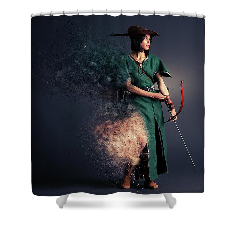 Robin Hood Shower Curtain featuring the photograph R O B Y N - H U D by Smart Aviation