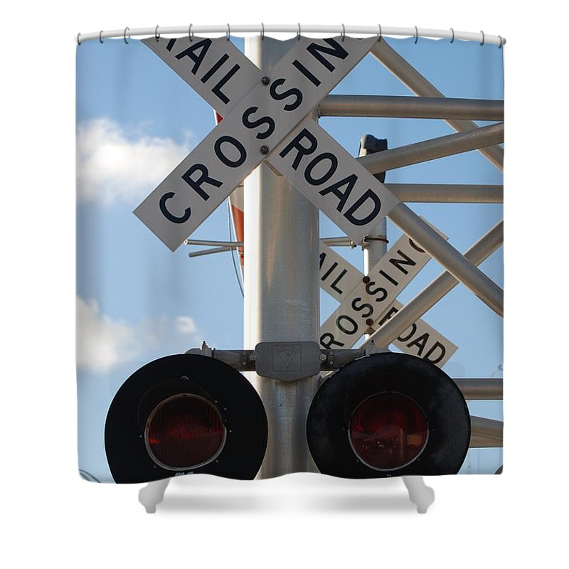 Train Shower Curtain featuring the photograph R X R Crossing by Rob Hans