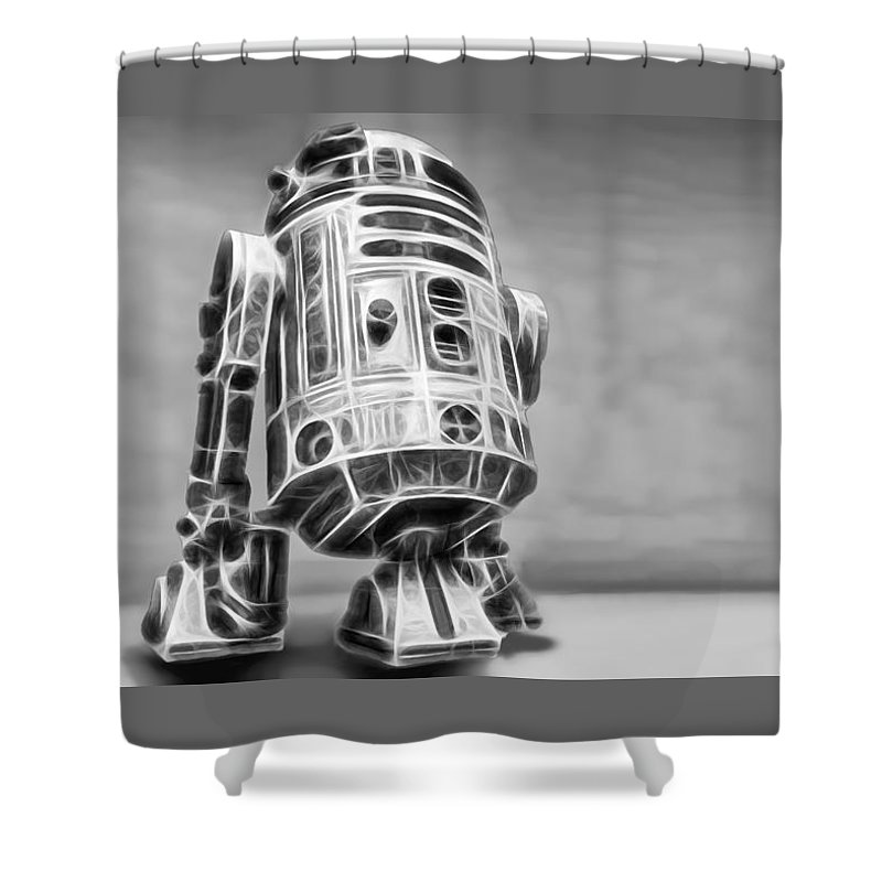 Starwars Shower Curtain featuring the digital art R2 Feeling Lonely by Scott Campbell