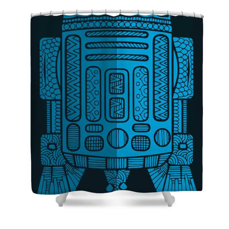 R2d2 Shower Curtain featuring the mixed media R2D2 - Star Wars Art - Blue 2 by Studio Grafiikka