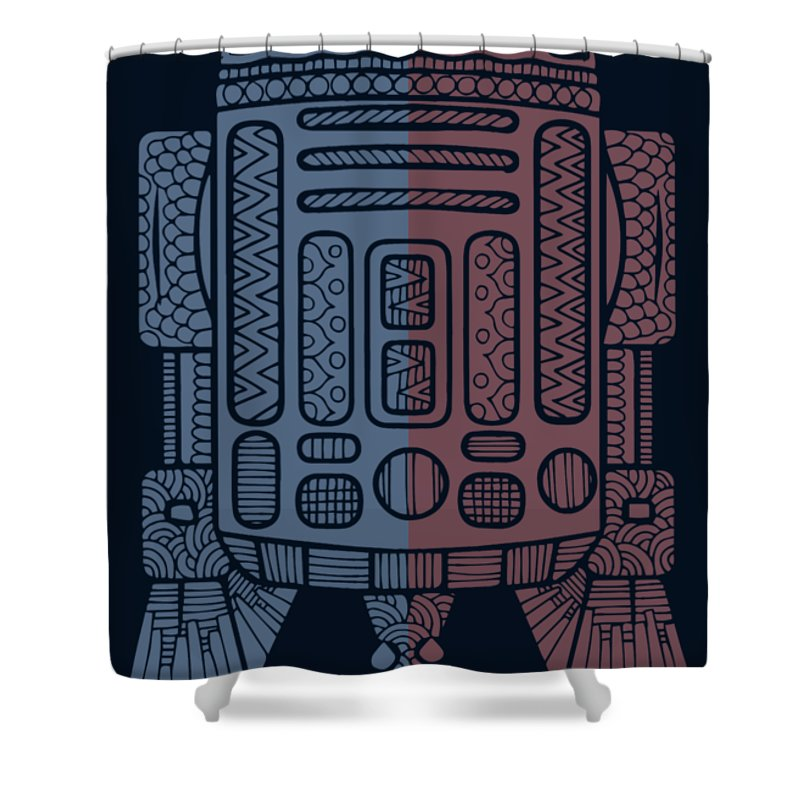 R2d2 Shower Curtain featuring the mixed media R2D2 - Star Wars Art - Blue, Red by Studio Grafiikka