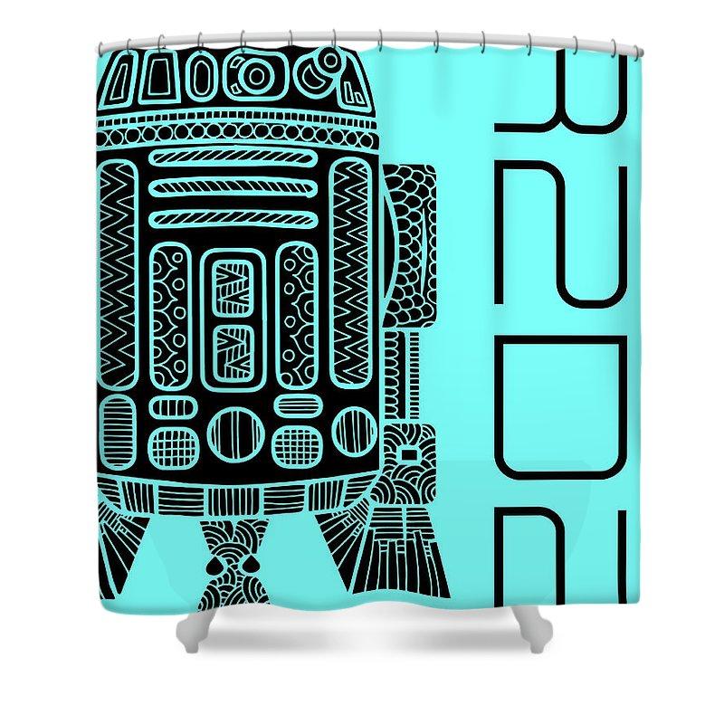 R2d2 Shower Curtain featuring the mixed media R2D2 - Star Wars Art - Blue by Studio Grafiikka