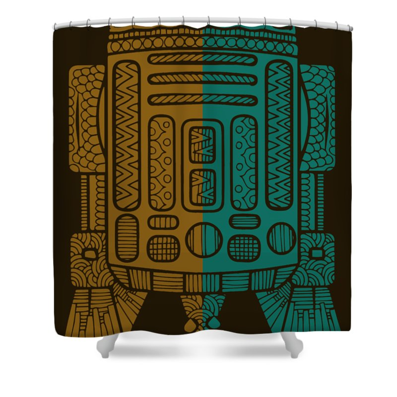 R2d2 Shower Curtain featuring the mixed media R2D2 - Star Wars Art - Brown, Blue by Studio Grafiikka