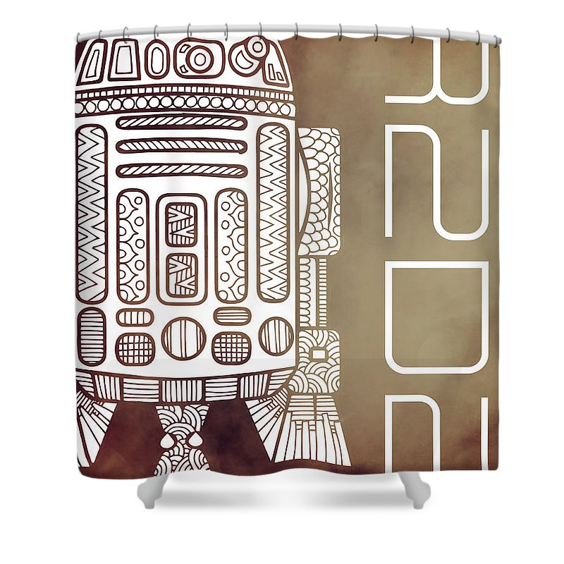 R2d2 Shower Curtain featuring the mixed media R2D2 - Star Wars Art - Brown by Studio Grafiikka