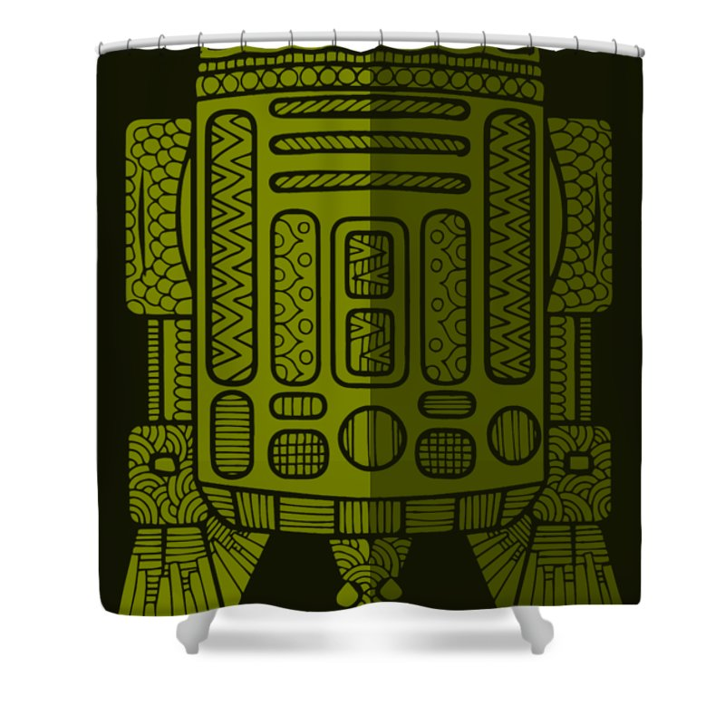R2d2 Shower Curtain featuring the mixed media R2D2 - Star Wars Art - Green 2 by Studio Grafiikka