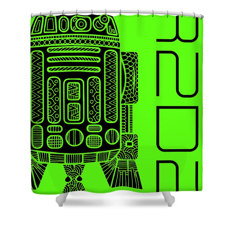 R2d2 Shower Curtain featuring the mixed media R2d2 - Star Wars Art - Green by Studio Grafiikka