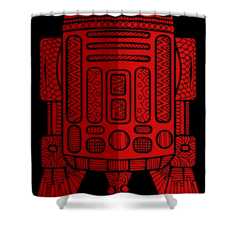 R2d2 Shower Curtain featuring the mixed media R2D2 - Star Wars Art - Red 2 by Studio Grafiikka