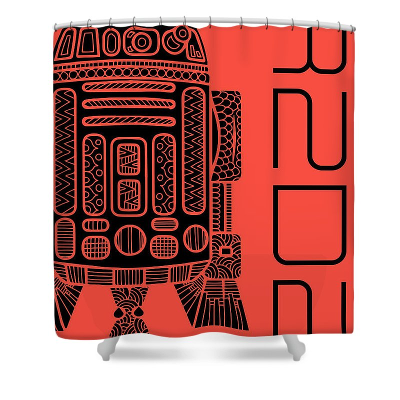 R2d2 Shower Curtain featuring the mixed media R2d2 - Star Wars Art - Red by Studio Grafiikka