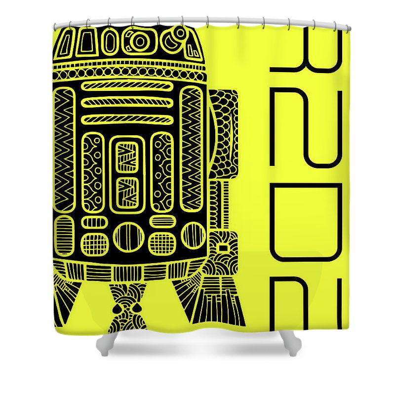 R2d2 Shower Curtain featuring the mixed media R2d2 - Star Wars Art - Yellow by Studio Grafiikka