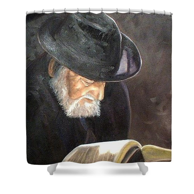 Portrait Shower Curtain featuring the painting Rabbi by Toni Berry