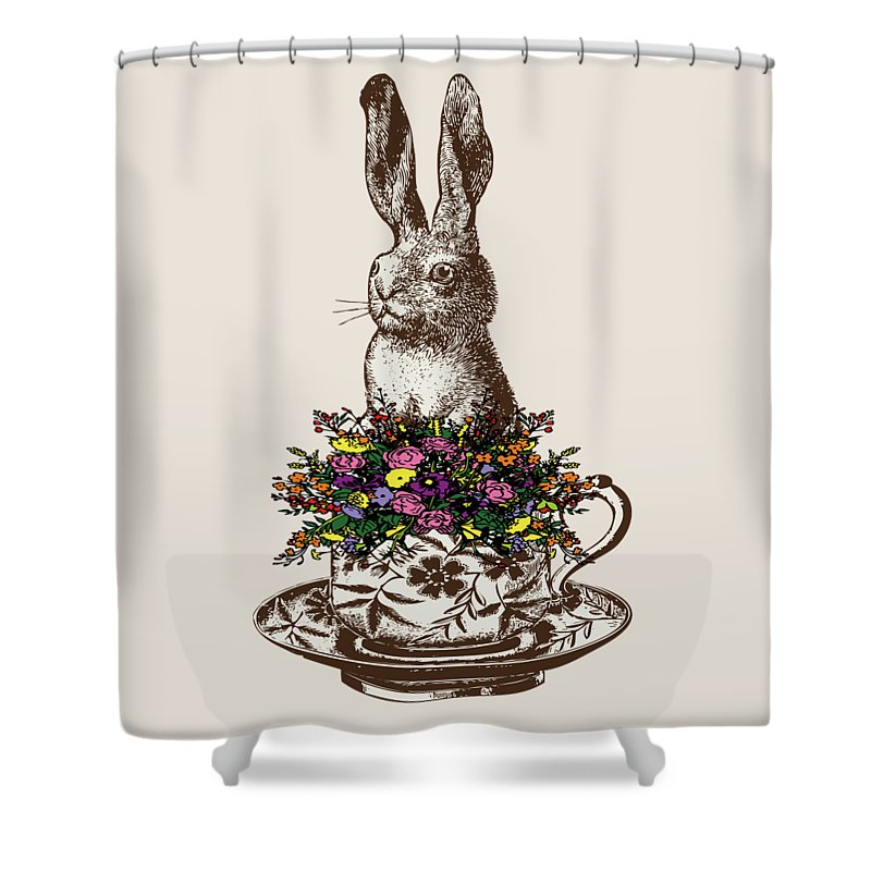 Rabbits Shower Curtain featuring the digital art Rabbit In A Teacup by Eclectic at HeART