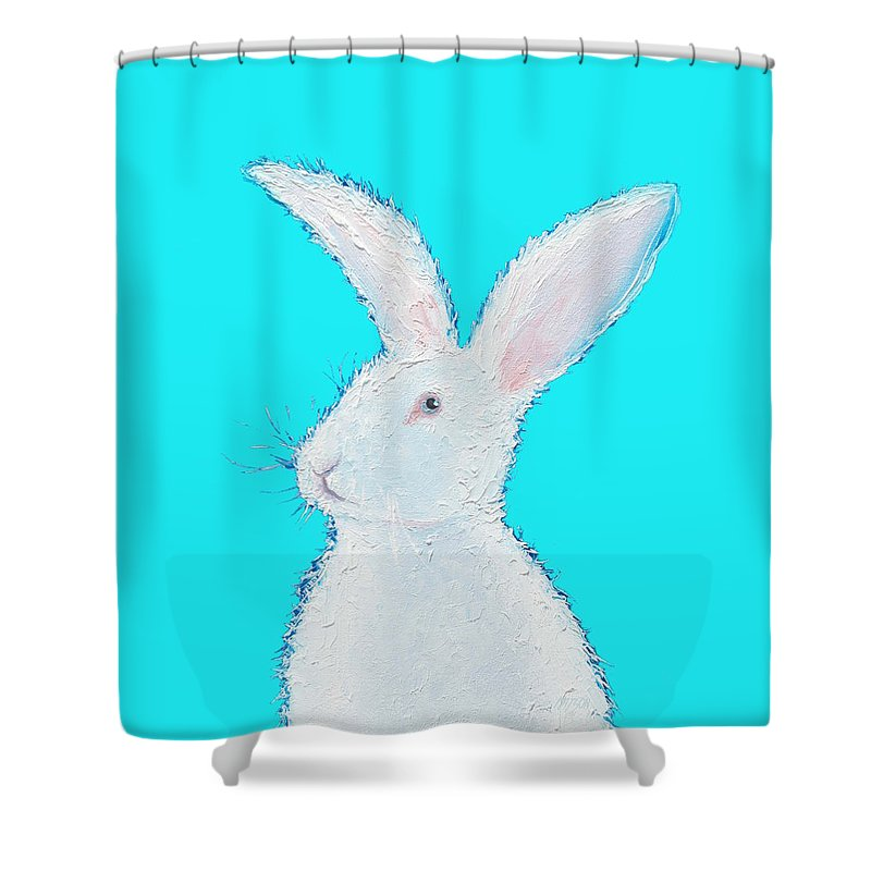 Rabbit Shower Curtain Featuring The Painting