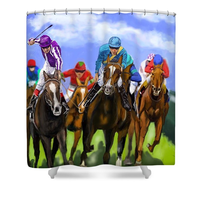 Racetrack Track Horses Racing Horse Racing Betting Win Winning Winner Bet Betting Gamble Tip Punt Jockey Ride Rider Trainer Gallop Field Form Formguide Sport Favourite Cup Shower Curtain featuring the digital art Race Day by Lincoln Howes