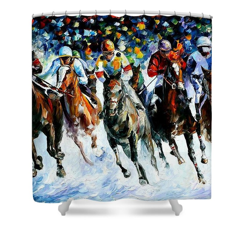 Race Shower Curtain featuring the painting Race On The Snow by Leonid Afremov
