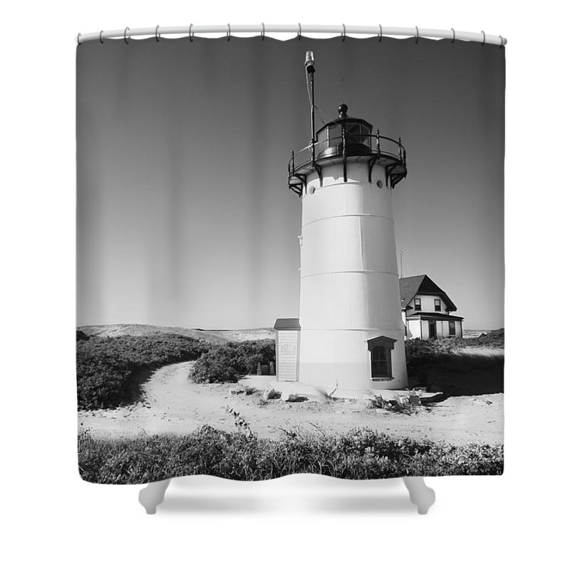 Black And White Photography Shower Curtain featuring the photograph Race Point Lighthouse Black And White Photo Print by Dapixara Art