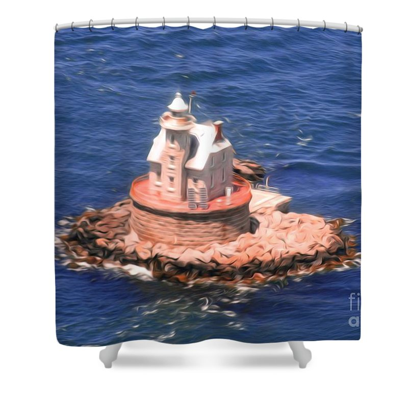 Race Shower Curtain featuring the photograph Race Rock Lighthouse by William Petri
