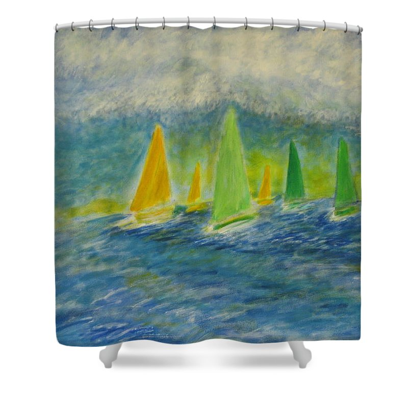 Sailing Shower Curtain featuring the painting Racing Home by John Scates