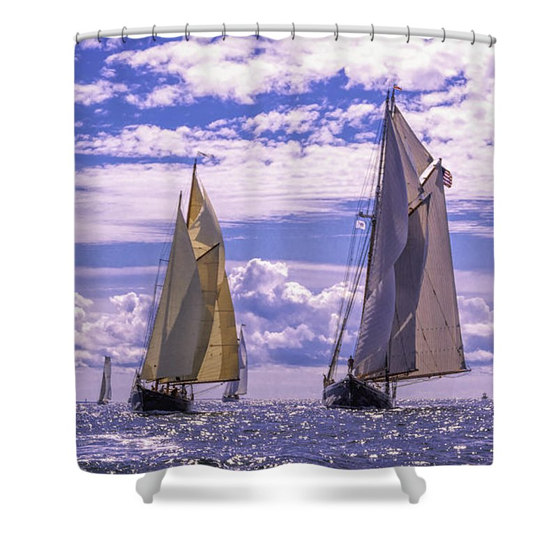 Amistad Shower Curtain featuring the photograph Racing On Open Waters by Joe Geraci
