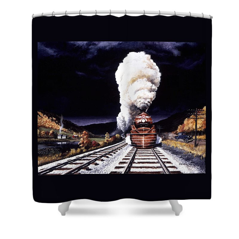 Train Shower Curtain featuring the painting Racing The Storm by David Mittner