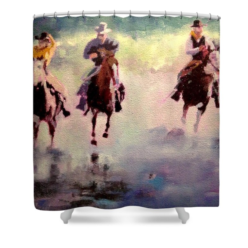 Horse Surf Shower Curtain featuring the painting Racing The Surf by R W Carlson