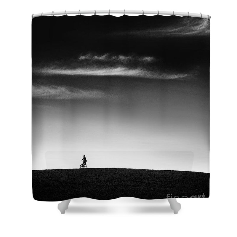 Boy Shower Curtain featuring the photograph Racing The Wind by Dana DiPasquale