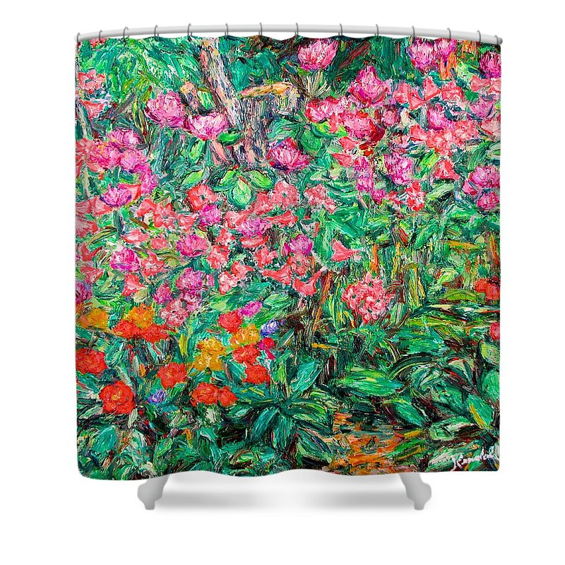 Kendall Kessler Shower Curtain featuring the painting Radford Flower Garden by Kendall Kessler