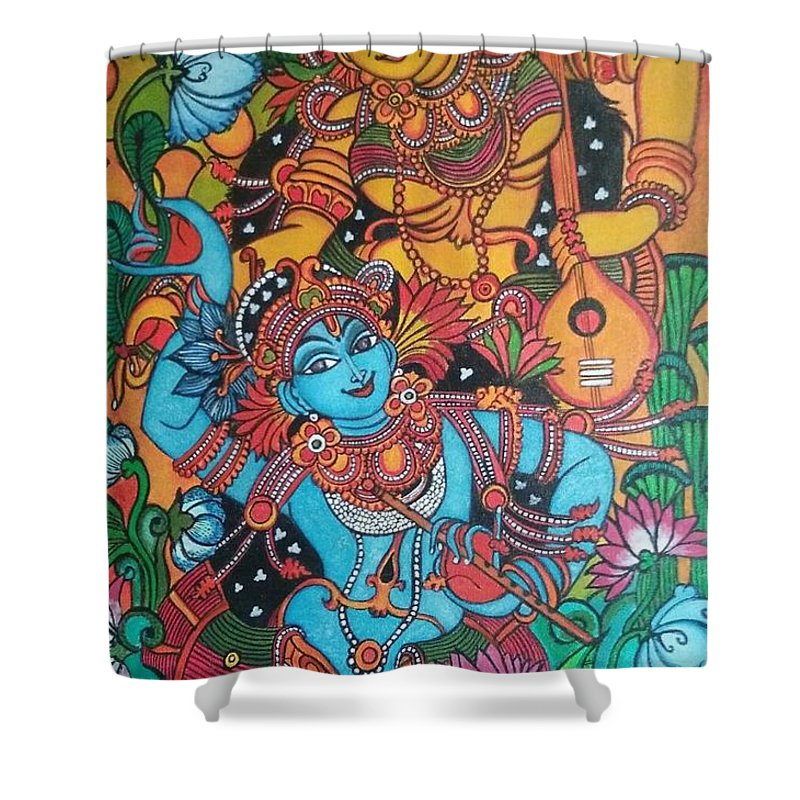 Radha Krishna Mural Shower Curtain For Sale By Aishwarya Menon