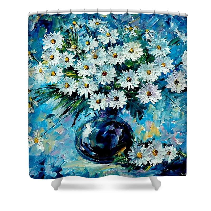 Floral Shower Curtain featuring the painting Radiance by Leonid Afremov