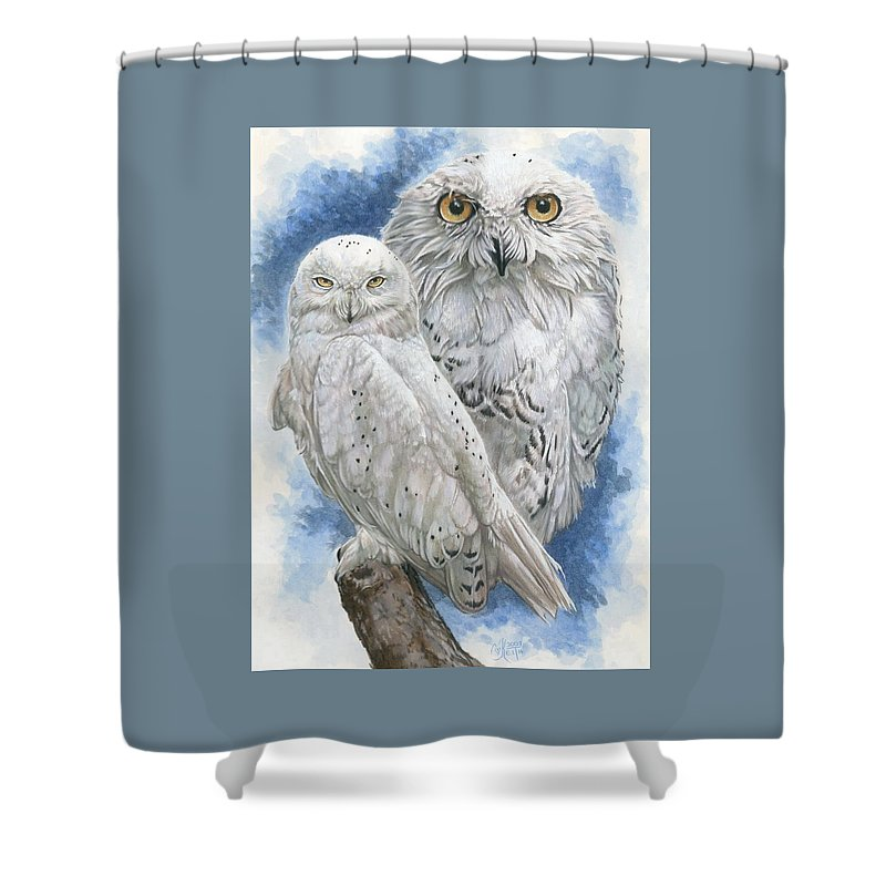 Snowy Owl Shower Curtain featuring the mixed media Radiant by Barbara Keith