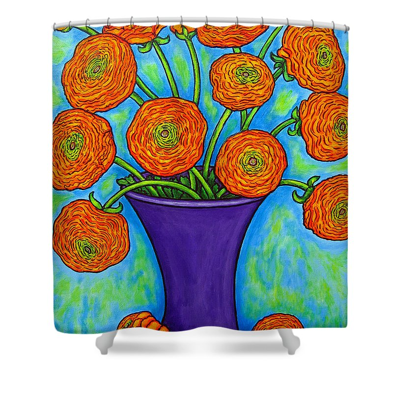 Green Shower Curtain featuring the painting Radiant Ranunculus by Lisa Lorenz