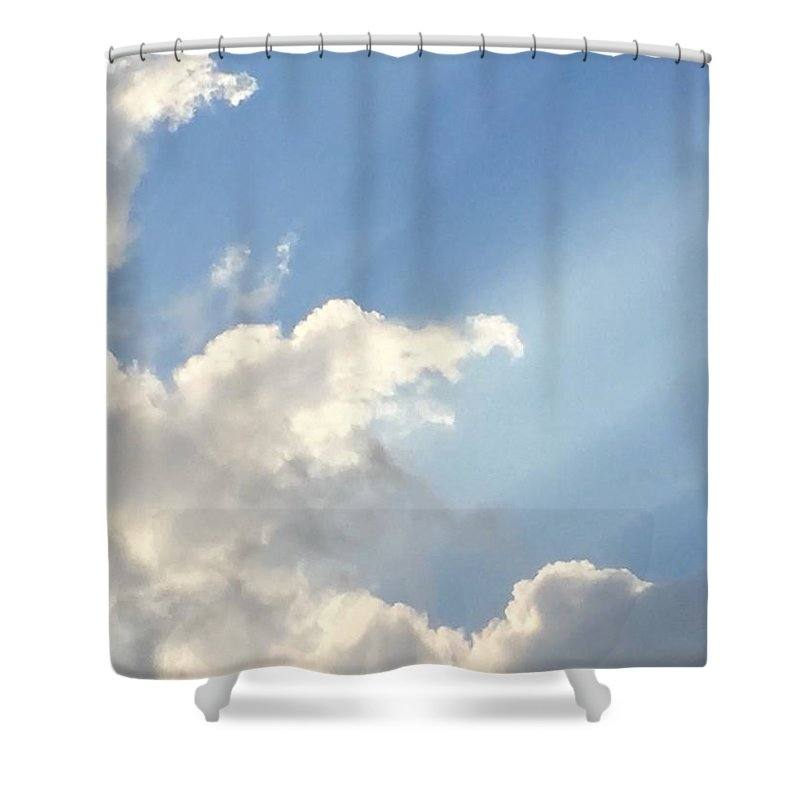 Radiant Blue Sky Clouds Cloudscape Nature Backlit Clouds Sun Shining Shower Curtain featuring the photograph Radiant Sky by Russell Keating