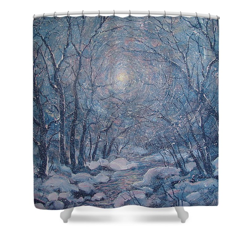 Snow Landscape Shower Curtain featuring the painting Radiant Snow Scene by Leonard Holland