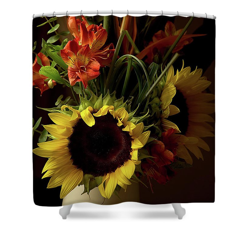 Sunflower Shower Curtain featuring the photograph Radiant Sunflowers And Peruvian Lilies by Marie Hicks