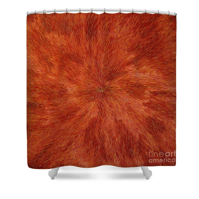 Abstract Shower Curtain featuring the painting Radiation With Brown Yellow And Voilet by Dean Triolo